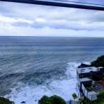 台風通過前の海