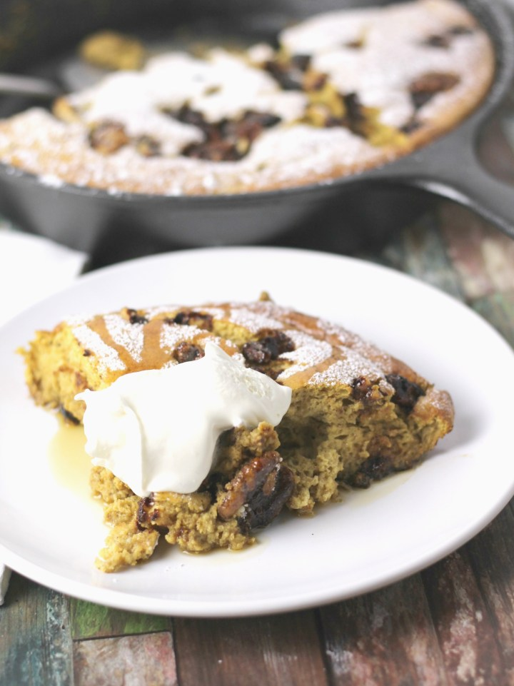 pumpkin pie souffle with candied nuts