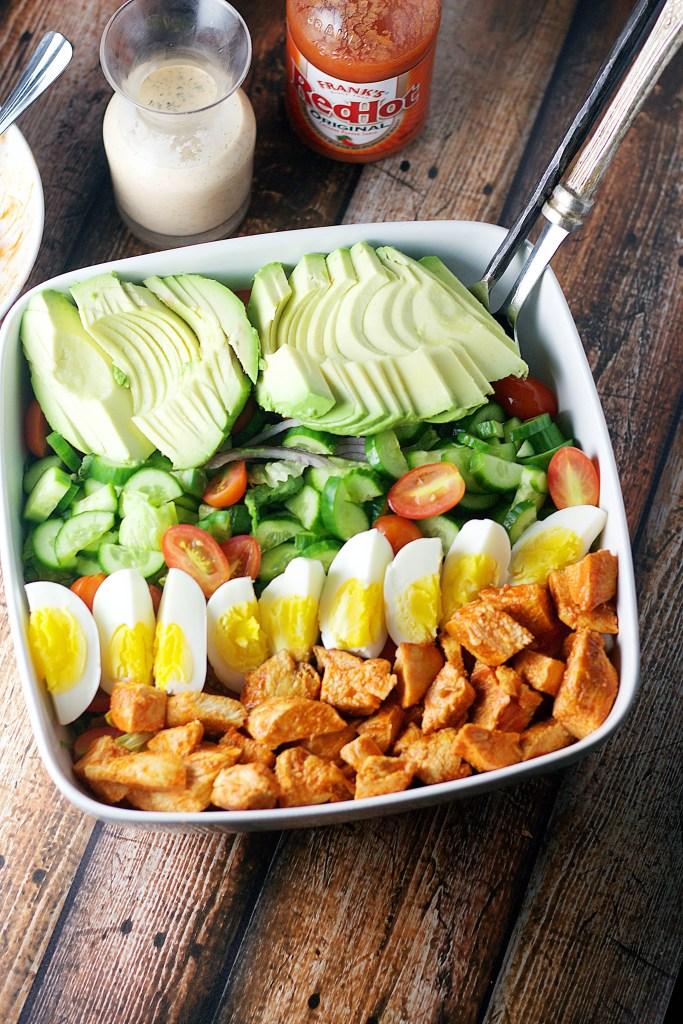 Buffalo Chicken Cobb Salad| www.mannaandspice.com