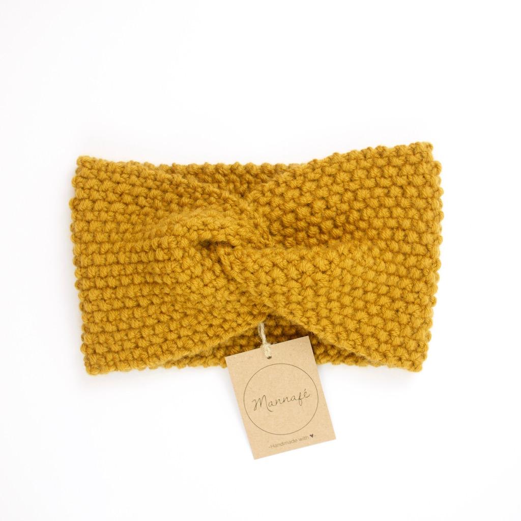 Bandeau croisé, tricoté en laine et cachemire, jaune moutarde