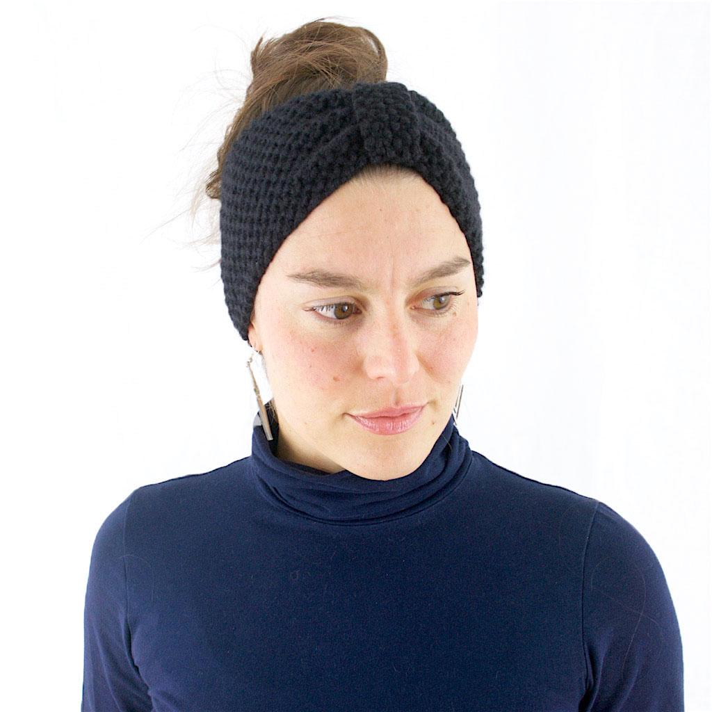 Bandeau tricoté en laine et cachemire, noir