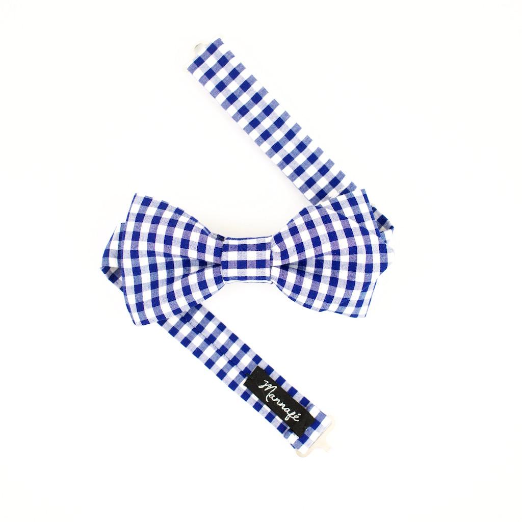 Noeud papillon en vichy bleu et blanc