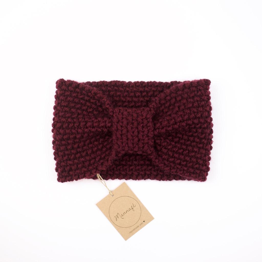 Gestricktes Stirnband aus Merinowolle, bordeauxrot - Mannafé