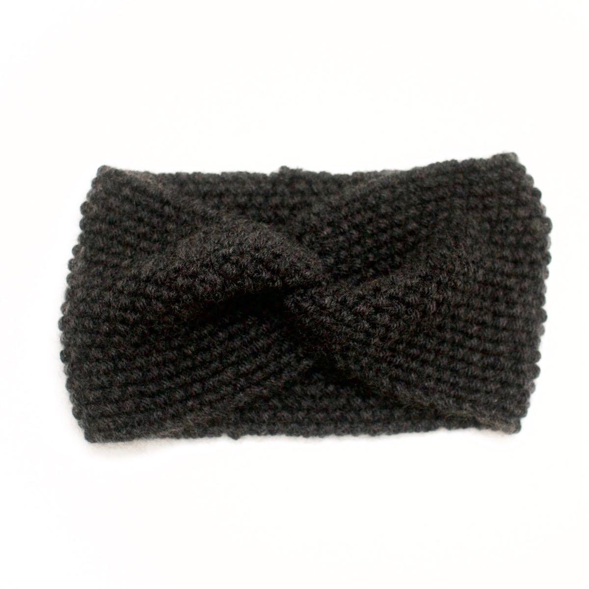 Bandeau croisé, tricoté en laine et cachemire, anthracite