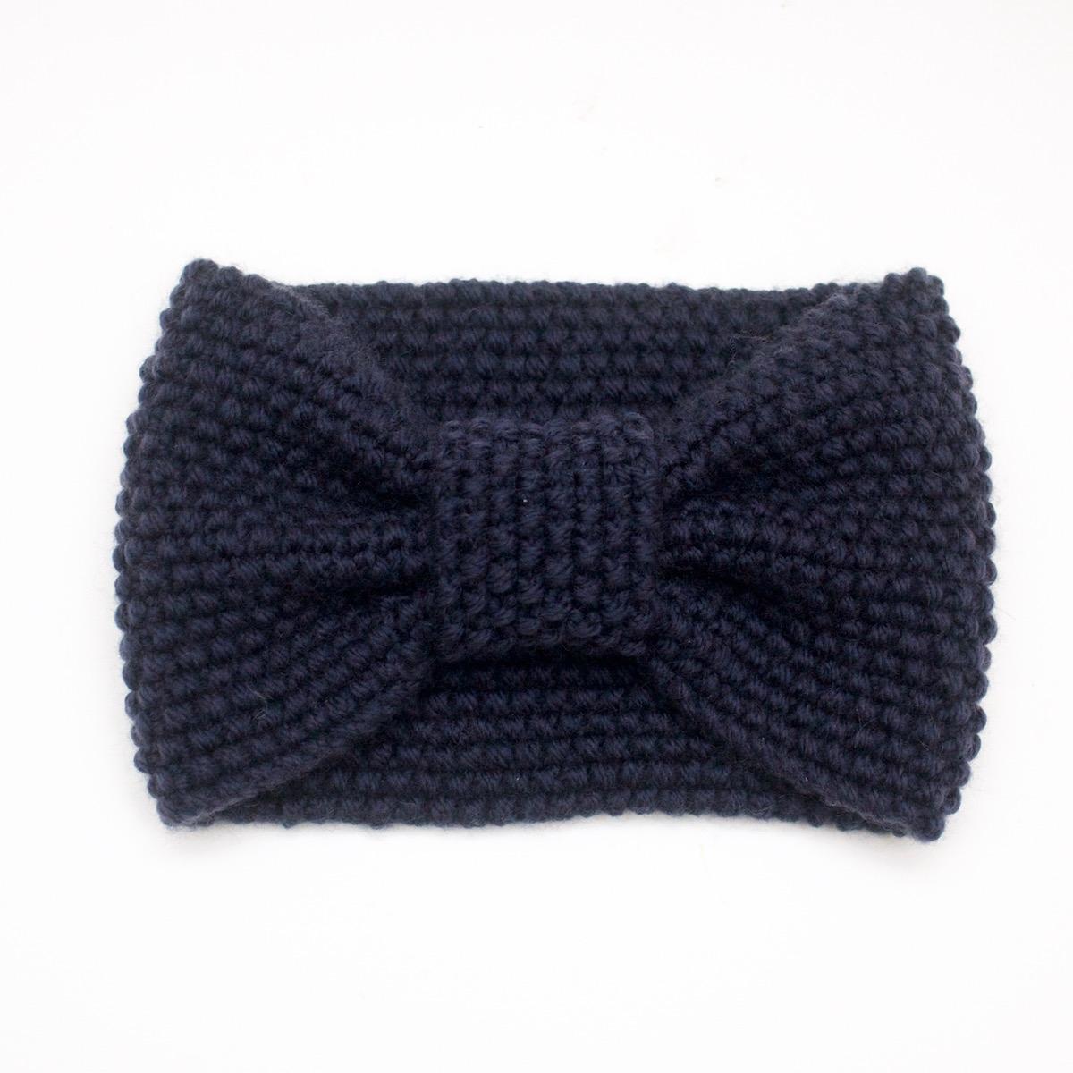 Gestricktes Stirnband aus Merinowolle, dunkelblau - Mannafé