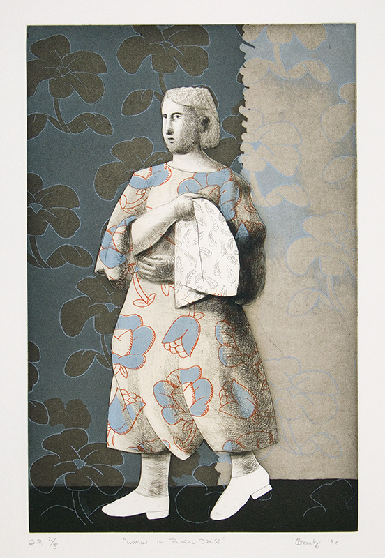 """""""Woman In Floral Dress"""", 1998. Size: 21"""" x 15"""". Etching, aquatint, drypoint. Edition of 20."""