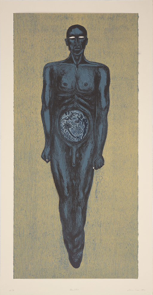 """Alison Saar: """"Man/Club"""", 1993. Lithography and woodcut, 44 1/2"""" x 23"""". Published by Vinalhaven Press."""