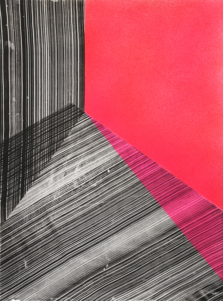 "Kate Petley: ""Replay 2"", 2020. Intaglio and acrylic. 29 3/4"" x 22 1/4""."