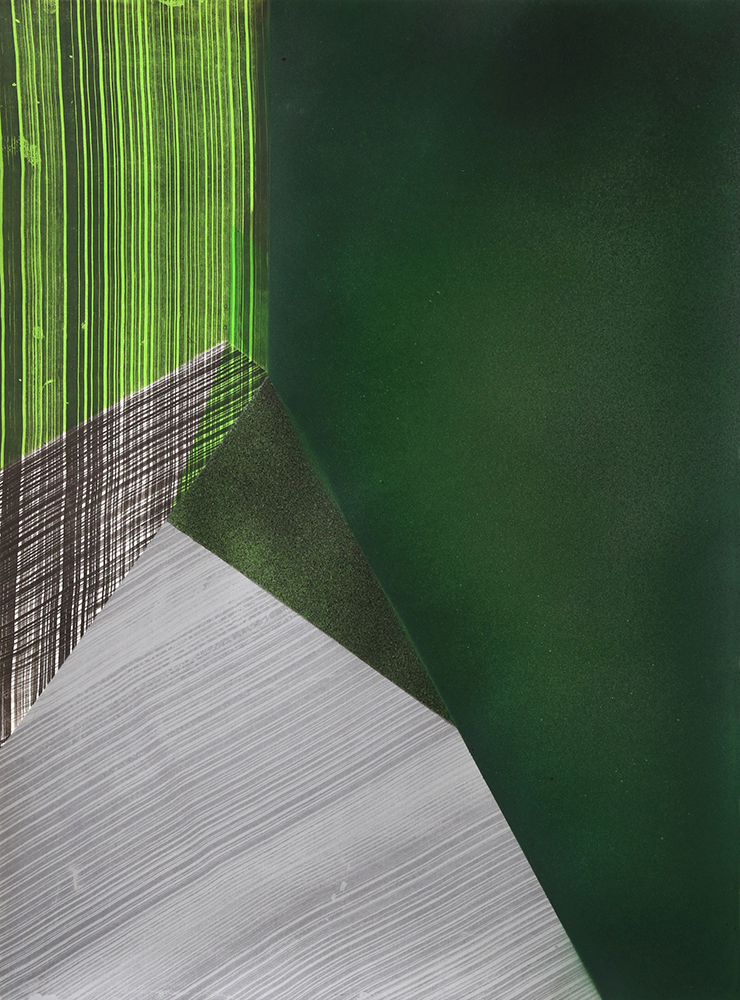 "Kate Petley: ""Replay 5"", 2020. Intaglio and acrylic. 29 3/4"" x 22 1/4""."