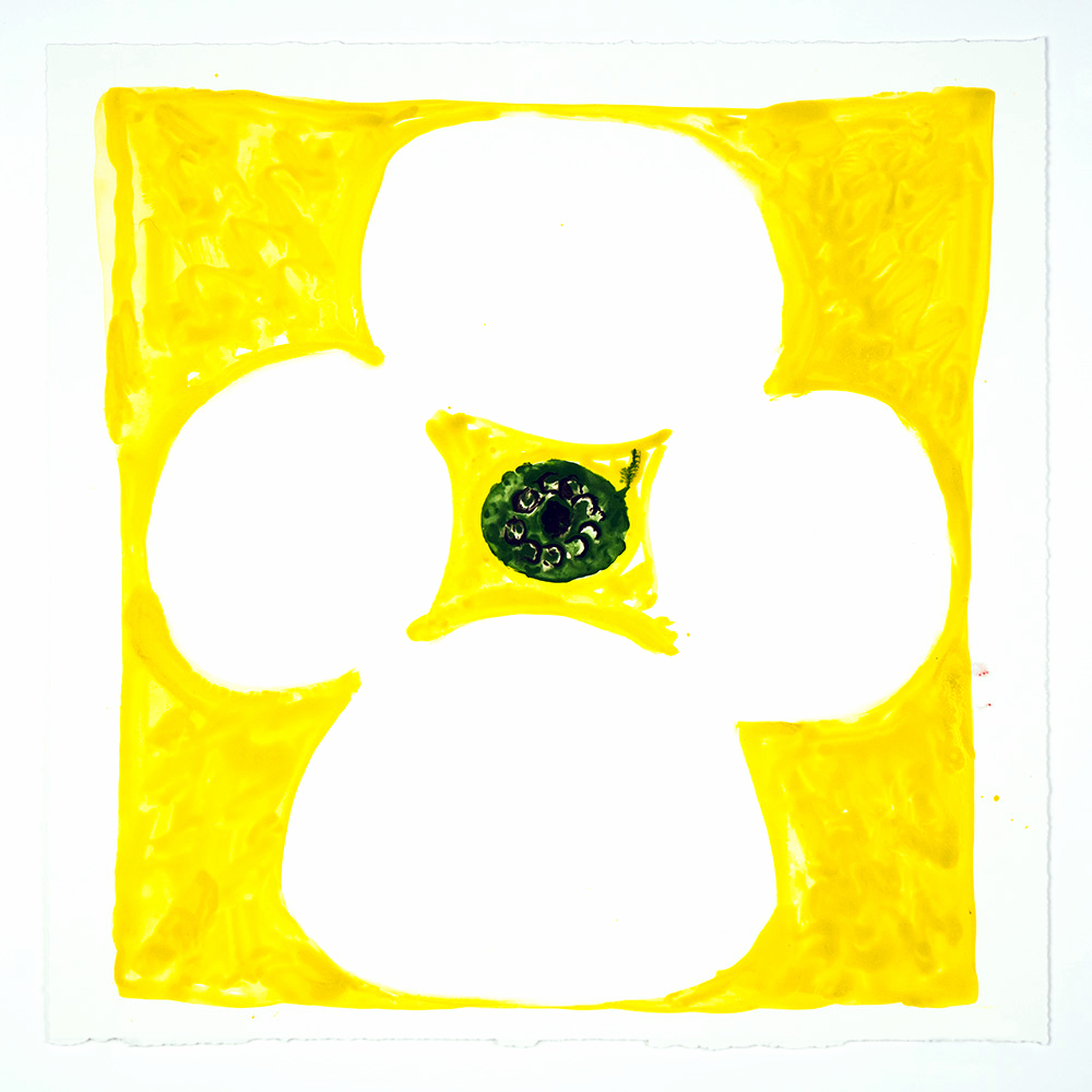 "Judy Ledgerwood: ""Inner Vision: Yellow + White + Olive"", 2020. Monotype, 16"" x 16"". Published by Manneken Press."