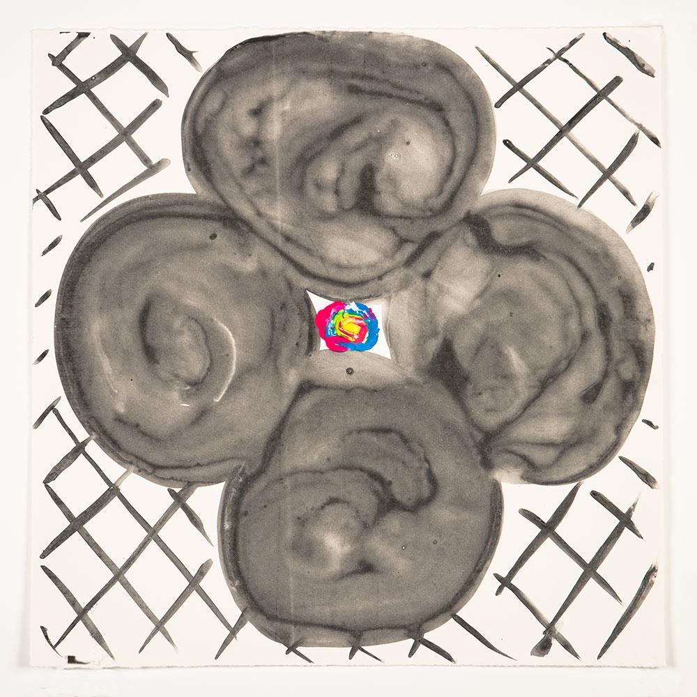 "Judy Ledgerwood: ""Inner Vision: Black + White"", 2020. Monotype, 16"" x 16"". Published by Manneken Press."
