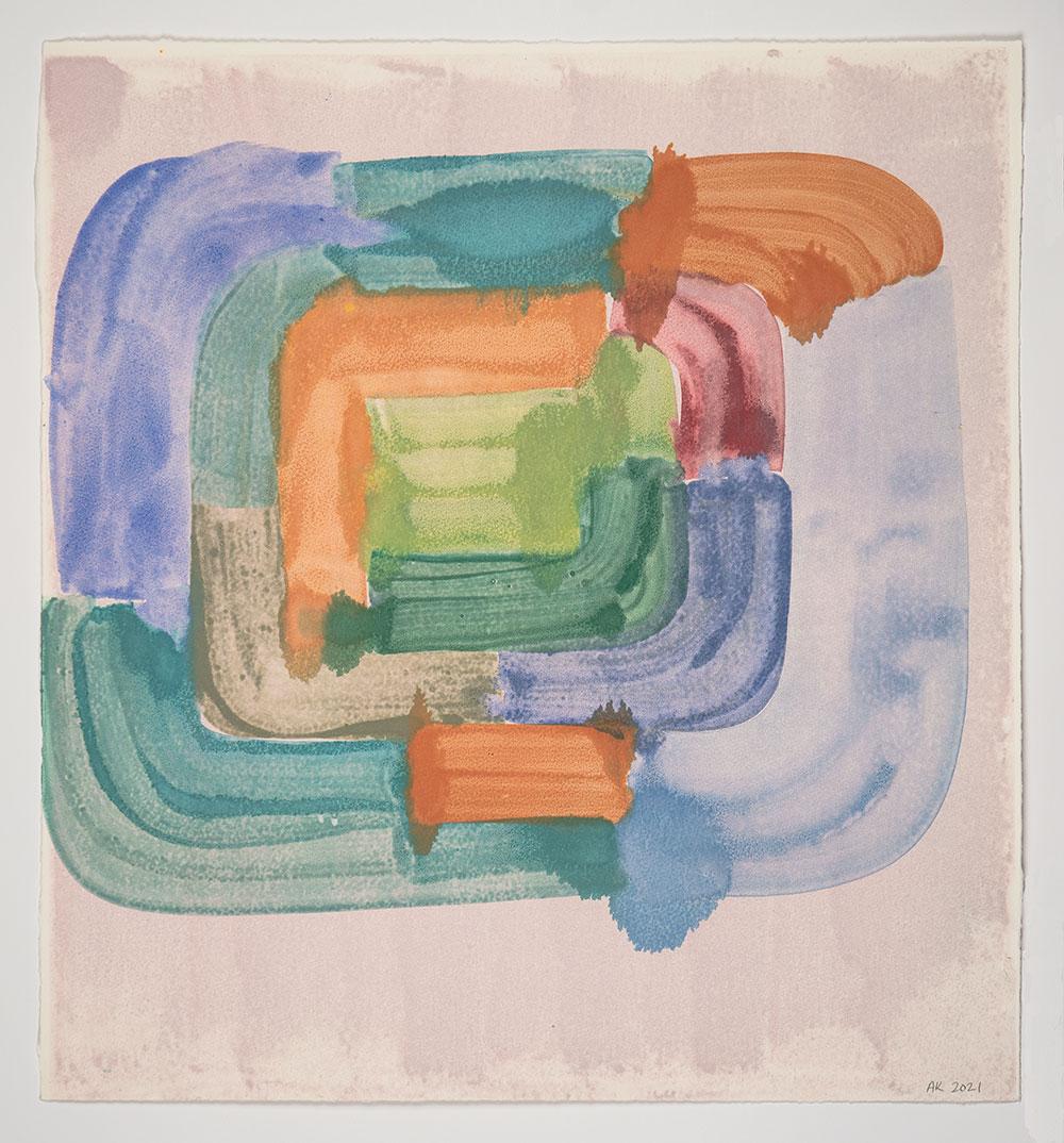 "Anna Kunz: ""Flood Tide #10"", 2021. Monotype, 22"" x 20"". Published by Manneken Press."