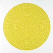 """Array 1000/Yellow"", 2011. Woodcut, edition of 15. 1000 mm diameter/45"" x 45""."