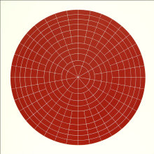 """Array 1000/Red"", 2011. Woodcut, edition of 15. 1000 mm diameter/45"" x 45""."