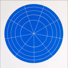 """Array 500/Blue"", 2006. Woodcut, edition of 20. 500 mm diameter/24 ½"" x 24 ½""."