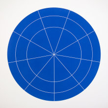 """Array 700/Blue"", 2006. Woodcut, edition of 20. 700 mm diameter/33"" x 33""."