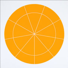 """Array 500/Orange"", 2006. Woodcut, edition of 20. 500 mm diameter/24 ½"" x 24 ½""."