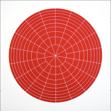 """Array 700/Red"", 2006. Woodcut, edition of 20. 700 mm diameter/33"" x 33""."