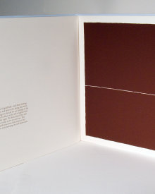 """The Center of the Lake"", 2000. Artist's book: letterpress and silkscreen. Nine poems by Todd Young, ten images by Rupert Deese. A single signature book, printed on Stonehenge paper, hand-sewn with linen thread in a folded, pale blue cover debossed with the title. Signed and numbered by the poet and the artist in pencil. Edition of 200. 10 ¾"" x 12 ⅛"". 14 pages."