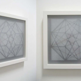 """Contained Element #2"", 2009. Woodcut on gray Roma paper and nylon mesh, mounted between non-glare glass, framed. edition of 5. 21"" x 21""."