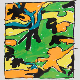"""""""Camouflage Jell-O 1"""", 2005. Linoleum cut, edition of 20. 22"""" x 20""""."""