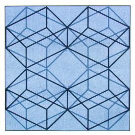"Square Cube X-4, 2009.  Woodcut and chine colle', edition of 10. Image size: 30"" x 30"", paper size: 36"" x 36""."