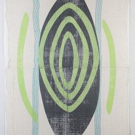 """""""Untitled"""", 2015. Diptych monotype on paper and fabric. 63 ½"""" x 47 ¾""""."""
