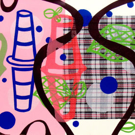 """""""Untitled"""", 2012. Monotype on fabric and paper. 30"""" x 84""""."""