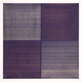 """Wine Dark Sea II"", 2018. Silver and copper on dark blue ground on paper. 12"" x 12"""