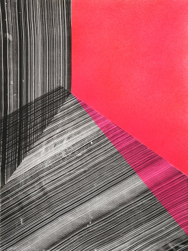 """Replay 2"", 2020. Intaglio and acrylic. 29 3/4"" x 22 1/4""."