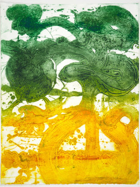 """Bouquet (peony, yellow, jade)"", 2019. Unique collagraph, 42 1/2"" x 33""."