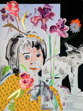 """""""Still Life With Irises"""", 2013. Monotype with collaged papers and fabric, graphite, pastel. 30"""" x 22""""."""