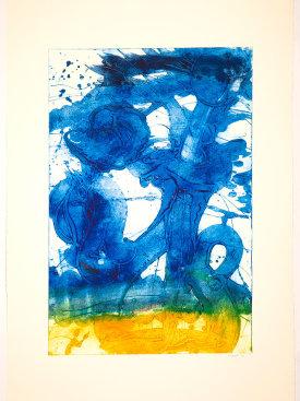 """Bouquet (sunflower, yellow to blue)"", 2019. Unique collagraph, 44"" x 30 1/2""."