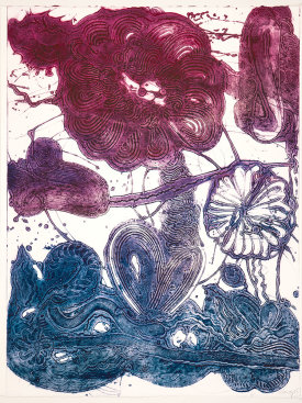 """Garden (daisy, magenta, blue)"", 2019. Unique collagraph, 42 1/2"" x 33""."