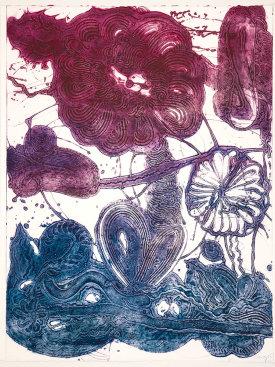 """Garden (daisy, magenta, blue)"", 2019. Unique collagraph, 42 1/2"" x 33""."
