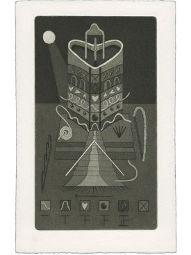 """""""All Is Zenith and Red Orb Strain"""", 2021. Etching and aquatint, 9"""" x 6"""". Edition of 13."""