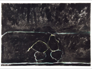 """""""Pears: Blue, Green and Yellow"""", 2005. Monotype. Image: 17"""" x 24"""", paper: 22"""" x 30""""."""