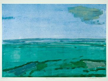 """Oceanville"", 2005. Monotype. Image: 17"" x 24"", paper: 22"" x 30""."