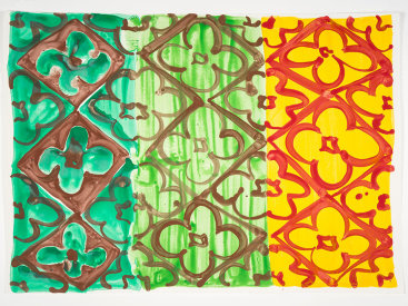 """Emerald, Green + Marigold"", 2020. Monotype, 22 ¼"" x 31""."
