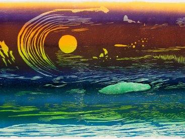 """Luna Sea"", 2018. Color reduction woodcut, 24"" x 36"", edition of 7."