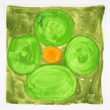 """""""Inner Vision: Spring Green + Olive"""", 2020. Monotype, 16"""" x 16""""."""