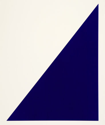 """""""Rivers & Mountains/10, Blue Sail"""", 2018. Painted paper multiple, 31"""" x 25 1/8"""". Edition of 6."""