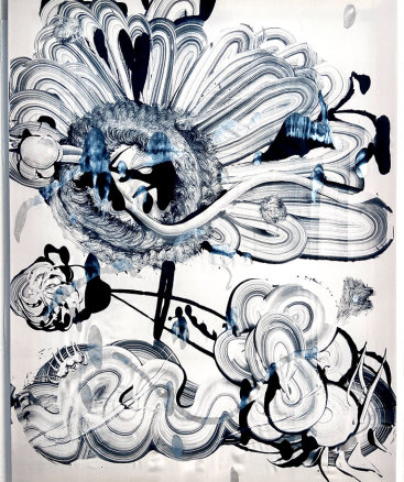 """""""Black Garden no. 5"""", 2021. 48""""x36"""". Monotype: acrylic and mica pigment on Habotai silk, stretched on wood stretcher bars"""