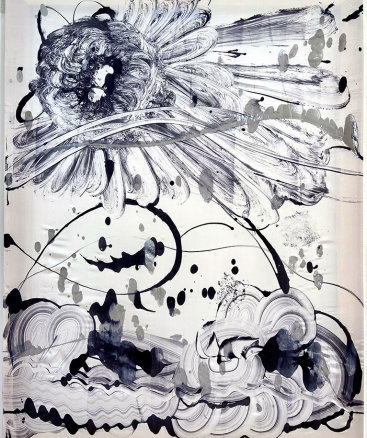"""""""Black Garden no. 8"""", 2021. 48""""x36"""". Monotype: acrylic and mica pigment on Habotai silk, stretched on wood stretcher bars"""