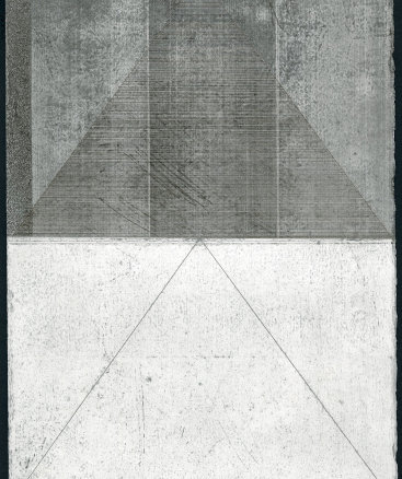 """""""Untitled XI"""", 2015. Silverpoint and graphite with sanding on prepared paper. 12"""" x 8 3⁄4""""."""
