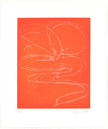"""Benibana"", 2019. Aquatint, edition of 20. Image: 17"" x 14"", sheet: 23 1/2"" x 20""."