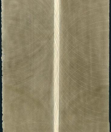 """""""Untitled VI"""", 2015. Silver and copper on prepared paper. 12"""" x 8 3⁄4""""."""