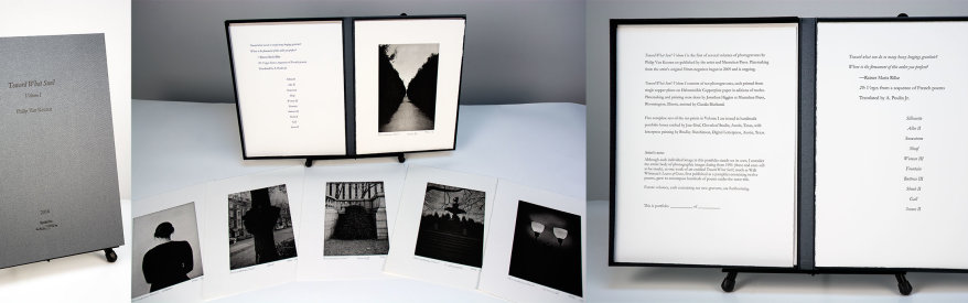 """""""Toward What Sun?"""" Volume I, 2016. Portfolio of ten photogravures by Philip Van Keuren with letterpress-printed title page and colophon. Housed in a custom, clamshell portfolio case with debossed title."""