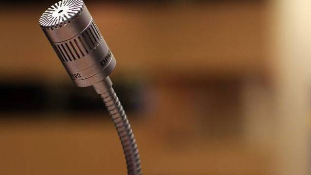 Microphone laying on a table