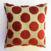 "Peace Sign and Polka Dots (back), small art pillow, 8"" square, available for $30"